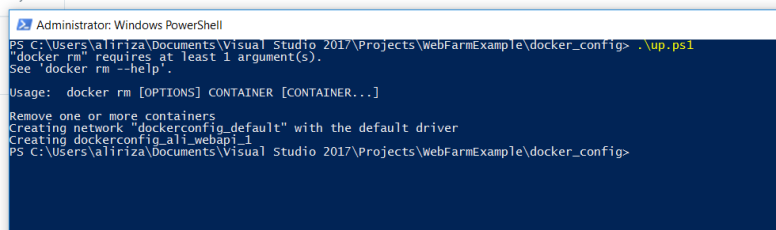 powershell script to docker compose up