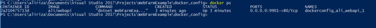 Powershell script to list container